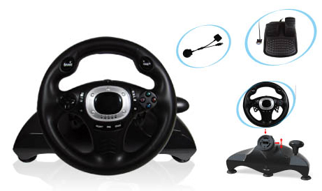 USB 2.4GHz Wireless vibration racing wheel