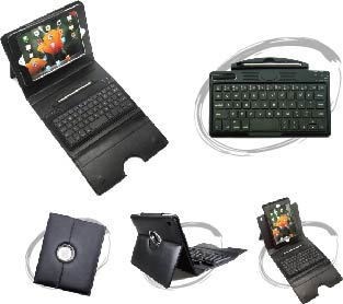 Plastics Keyboard with Leather Case for iPad mini